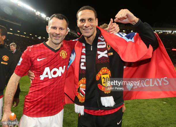 Ryan Giggs and Rio Ferdinand of Manchester United celebrates on the pitch after the Barclays Premier League match between Manchester United and Aston...