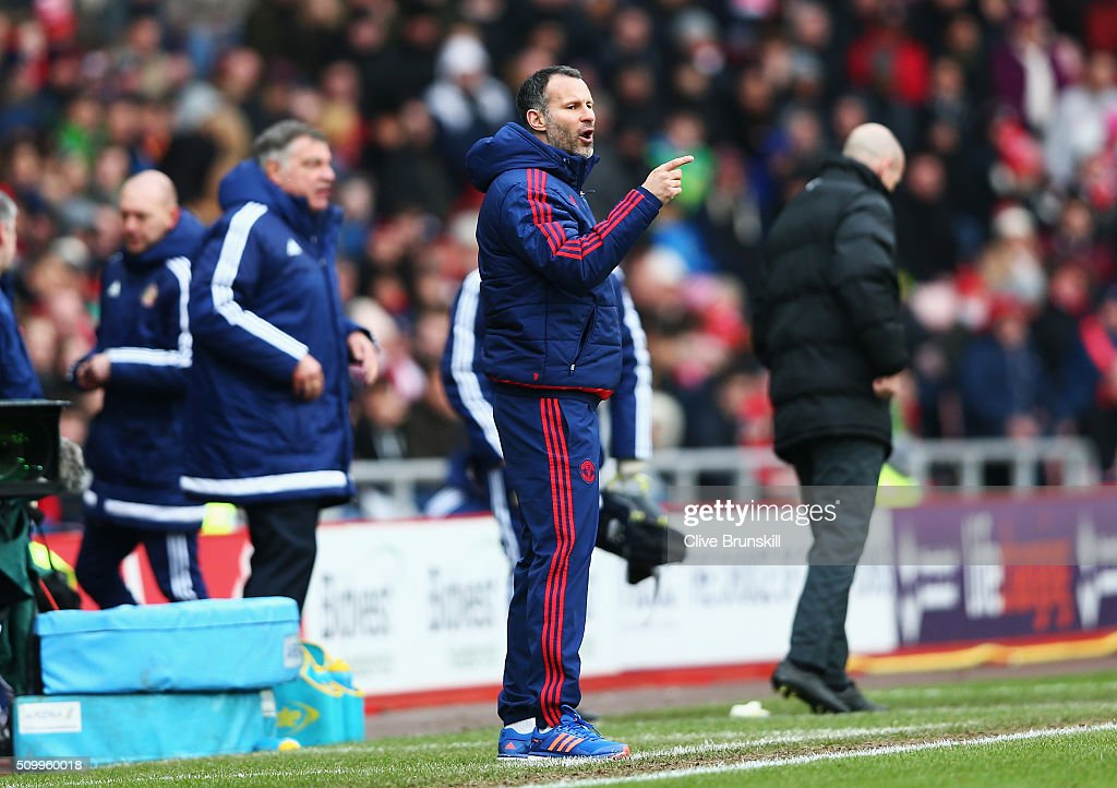 <a gi-track='captionPersonalityLinkClicked' href=/galleries/search?phrase=Ryan+Giggs&family=editorial&specificpeople=201666 ng-click='$event.stopPropagation()'>Ryan Giggs</a> Assistant Manager of Manchester United getures during the Barclays Premier League match between Sunderland and Manchester United at the Stadium of Light on February 13, 2016 in Sunderland, England.