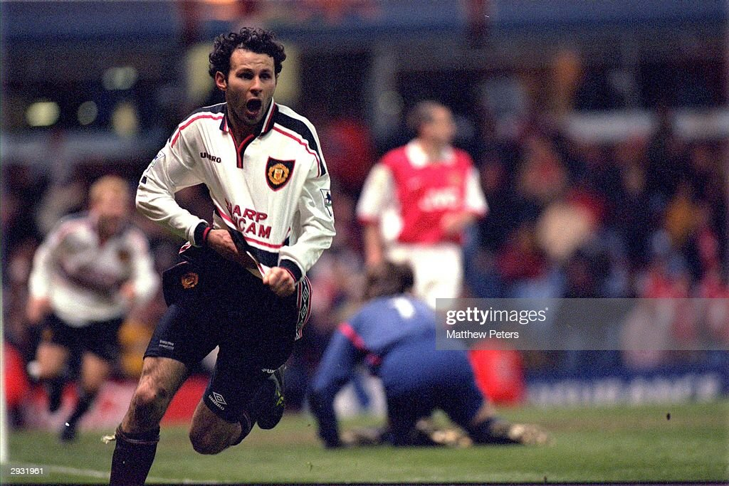 Ryan Giggs celebrates scoring a magnificent winning goal for United as they defeat Arsenal 2-1 in extra time during the 1999 FA Cup Semifinal Replay on April 14th, 1999 at Villa Park.