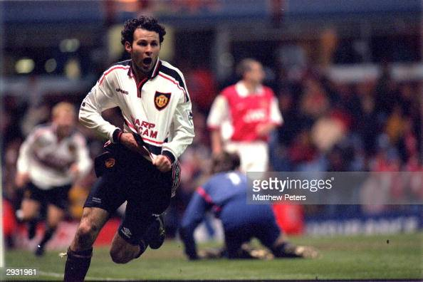 Ryan Giggs celebrates scoring a magnificent winning goal for United as they defeat Arsenal 21 in extra time during the 1999 FA Cup Semifinal Replay...