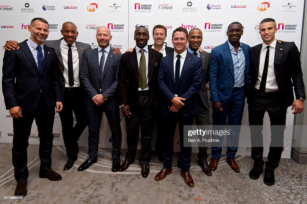 Ryan Giggs, Dion Dublin, Alan Shearer, Jimmy Floyd Hasselbaink, Matt Le Tissier, Michael Owen, Les Ferdinand, Emile Heskey and Robin van Persie attend the 21st Legends of football event to celebrate 25 seasons of the Premier League and raise money for music therapy charity Nordoff Robbins at The Grosvenor House Hotel on October 5, 2016 in London, England.