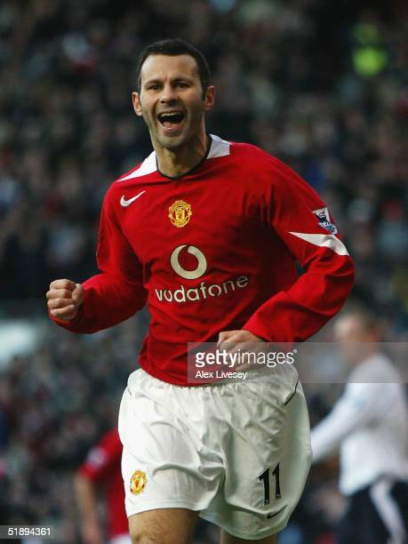 Ryan Giggs of Manchester United celebrates his goal against Bolton Wanderers during the Barclays Premiership match between Manchester United and...