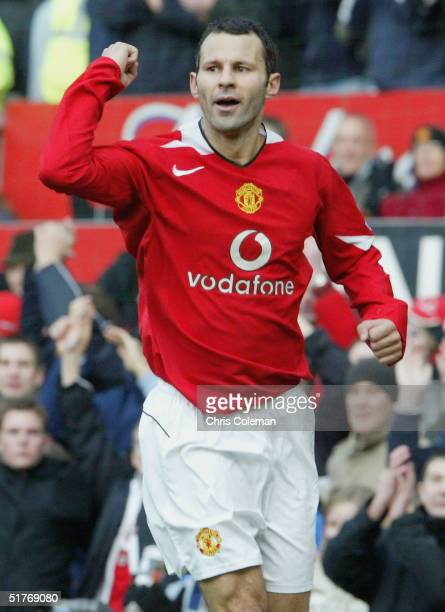 Ryan Giggs of Manchester United celebrates scoring the first goal during the Barclays Premiership match between Manchester United and Charlton...