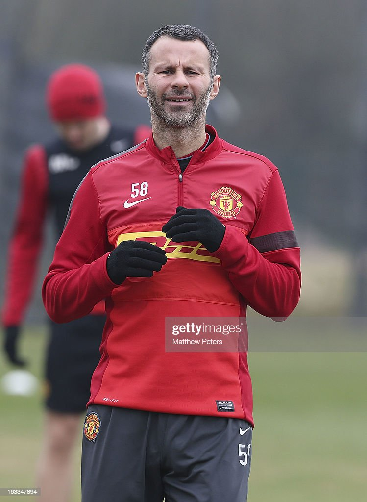 Ryan Giggs of Manchester United in action during a first team training session at Carrington Training Ground on March 8, 2013 in Manchester, England.