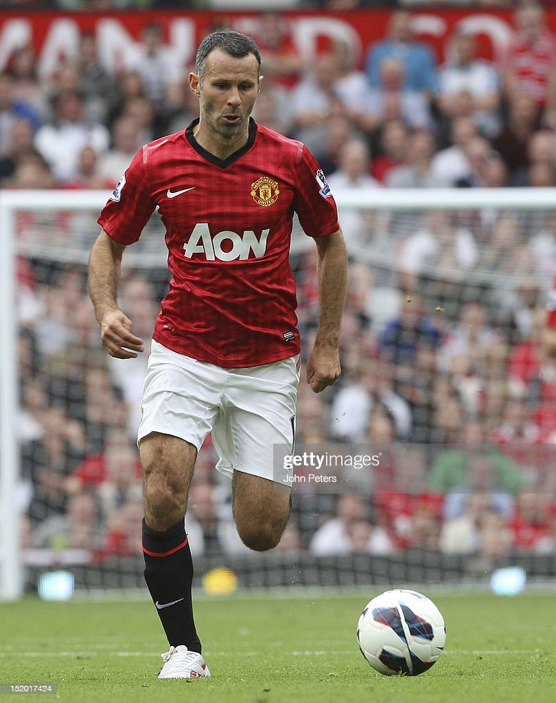 Ryan Giggs of Manchester United in action during the Barclays Premier League match between Manchester United and Wigan Athletic at Old Trafford on September 15, 2012 in Manchester, England.