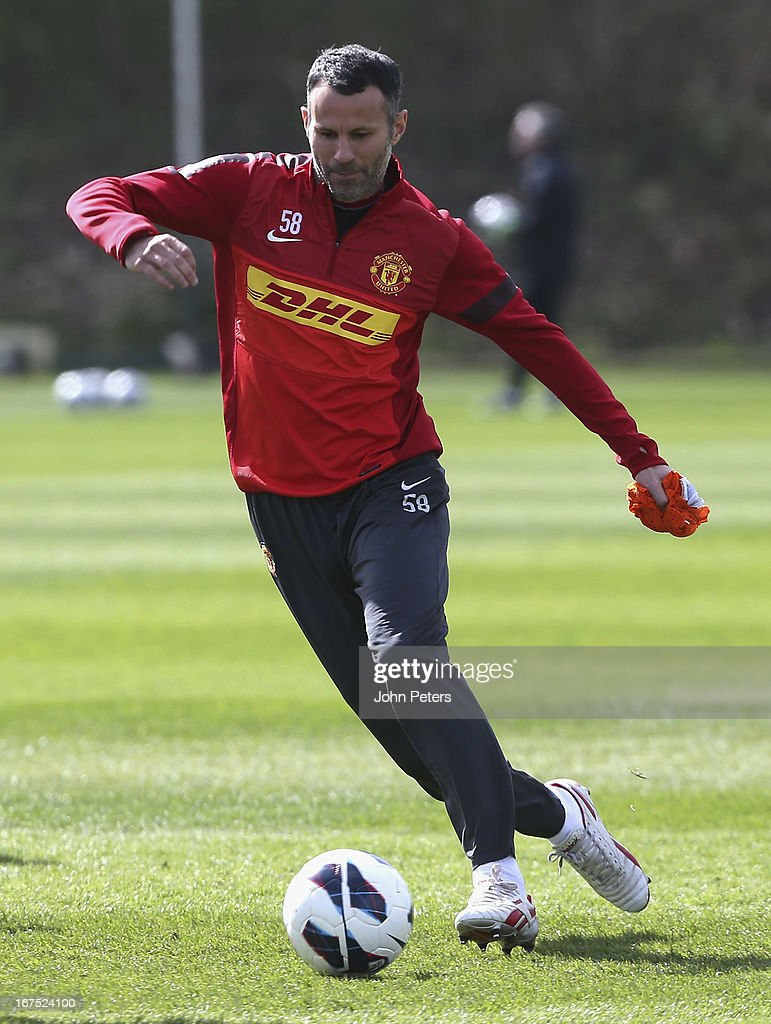 Ryan Giggs of Manchester United in actoin during a first team training session at Carrington Training Ground on April 26, 2013 in Manchester, England.