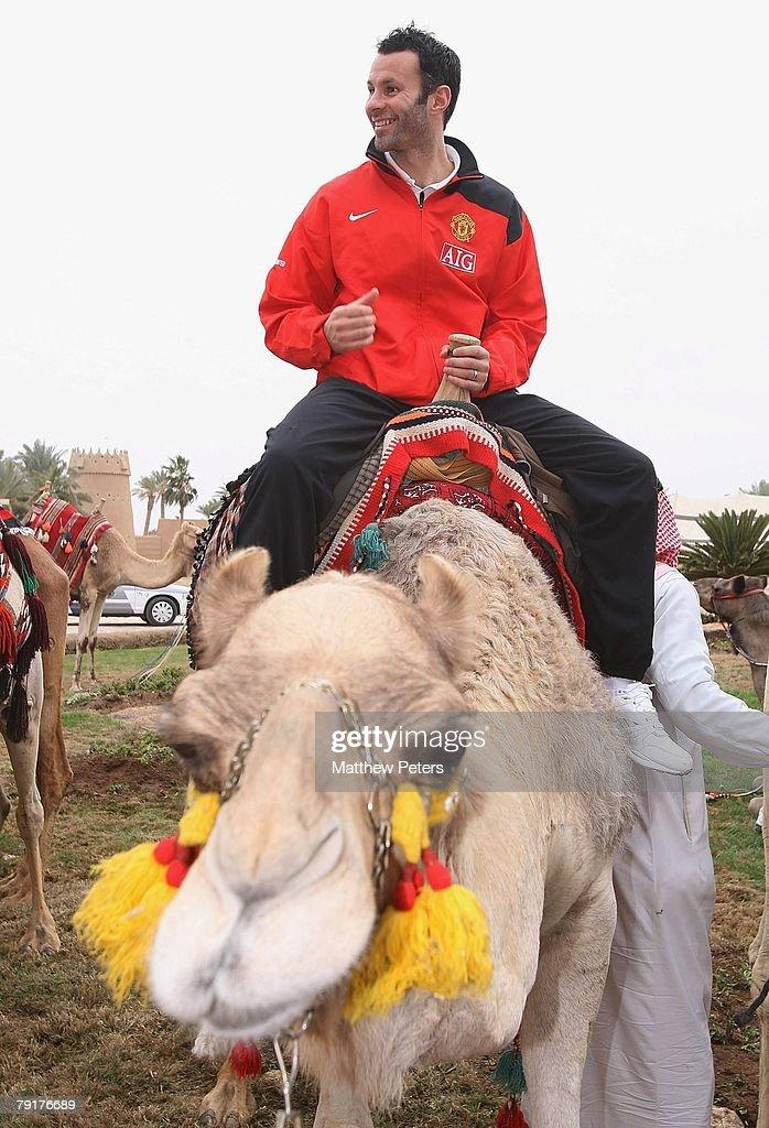 Ryan Giggs of Manchester United rides a camel at the palace of HRH Prince Abdullah bin Mosa'ad bin Abdullaziz on January 23 2008, in Riyadh, Saudi Arabia.