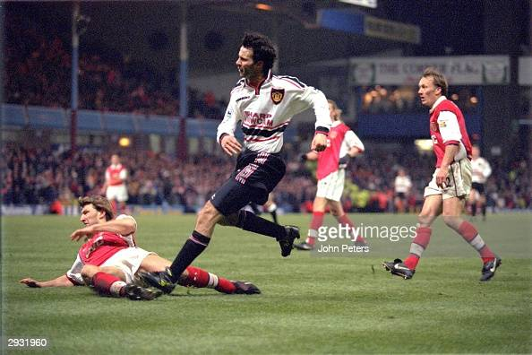 Ryan Giggs of Manchester United scores the winning goal for Manchester United in extra time during the FA Cup semifinal between Arsenal v Manchester...