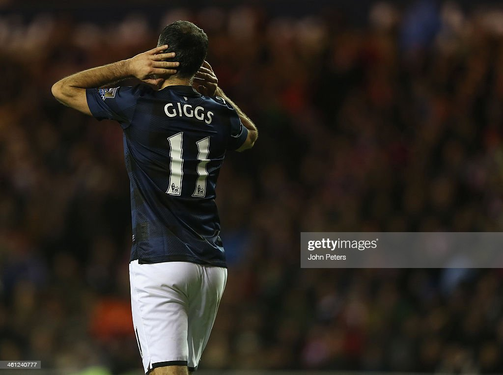 Ryan Giggs of Manchester United shows his disappointment after the Capital One Cup Semi-Final first leg between Sunderland and Manchester United at Stadium of Light on January 7, 2014 in Sunderland, England.