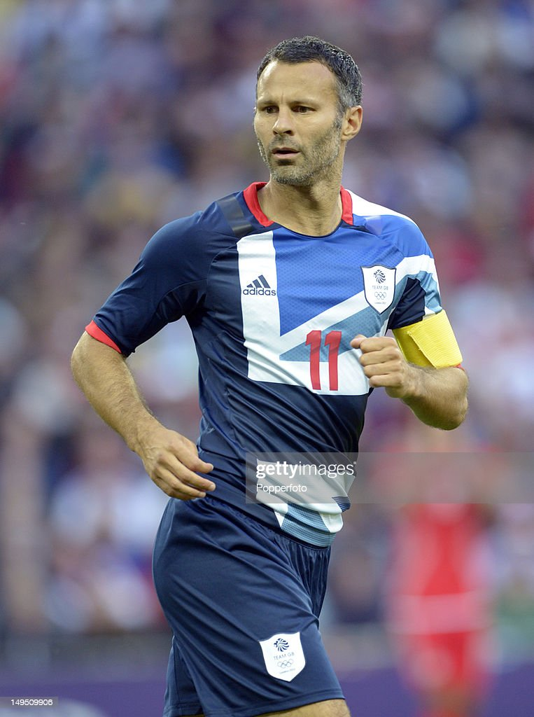 Ryan Giggs of Team GB in action during the Men's Football first round Group A Match between Great Britain and United Arab Emirates on Day 2 of the London 2012 Olympic Games at Wembley Stadium on July 29, 2012 in London, England.