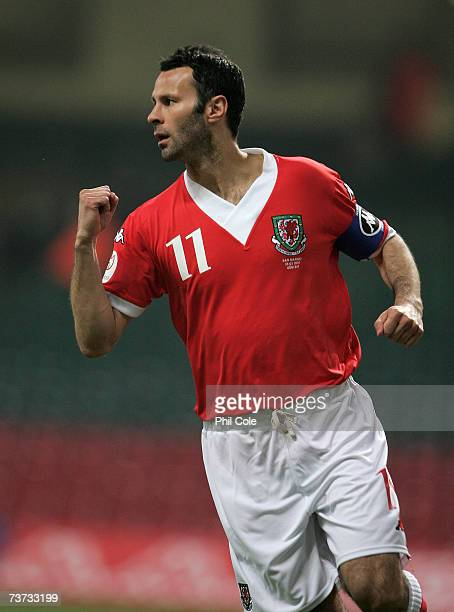 Ryan Giggs of Wales opens the scoring during the UEFA Euro 2008 qualifying match between Wales and San Marino at the Millennium Stadium on March 28...