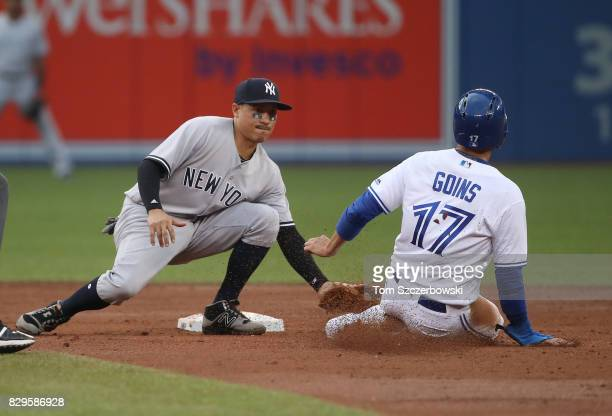 Ryan Goins of the Toronto Blue Jays is caught stealing second base in the second inning during MLB game action as Ronald Torreyes of the New York...