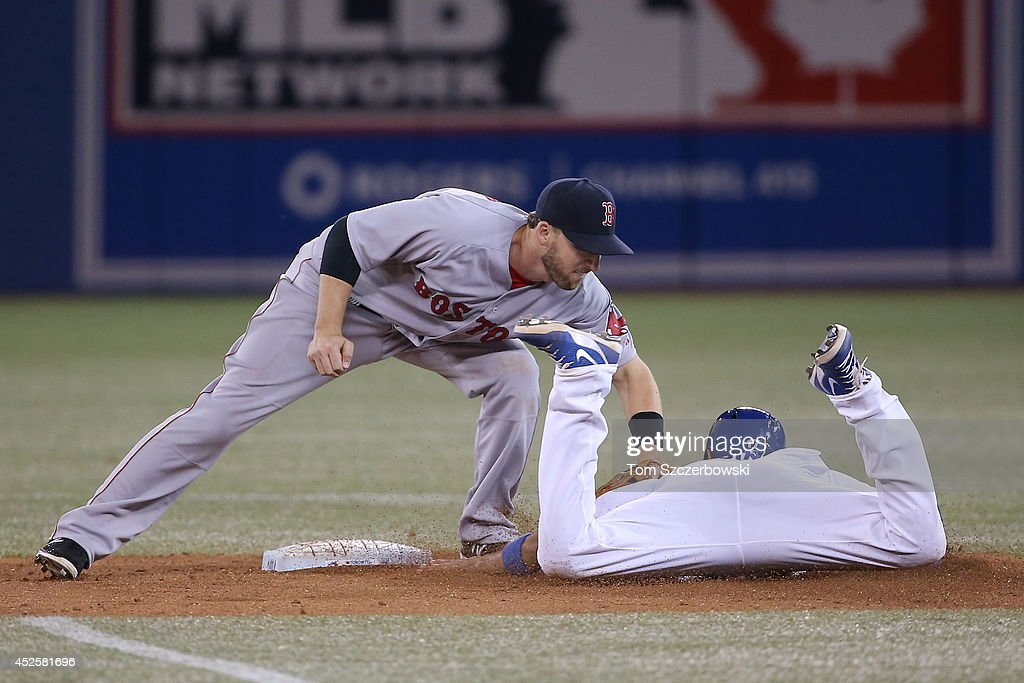 <a gi-track='captionPersonalityLinkClicked' href=/galleries/search?phrase=Ryan+Goins&family=editorial&specificpeople=9004043 ng-click='$event.stopPropagation()'>Ryan Goins</a> #17 of the Toronto Blue Jays is tagged out at second base in the eighth inning during MLB game action by <a gi-track='captionPersonalityLinkClicked' href=/galleries/search?phrase=Stephen+Drew&family=editorial&specificpeople=757520 ng-click='$event.stopPropagation()'>Stephen Drew</a> #7 of the Boston Red Sox on July 23, 2014 at Rogers Centre in Toronto, Ontario, Canada.