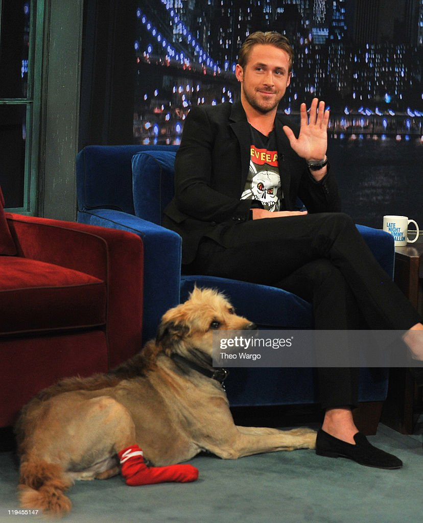 Ryan Gosling along with his dog George visits 'Late Night With Jimmy Fallon' at Rockefeller Center on July 20, 2011 in New York City.