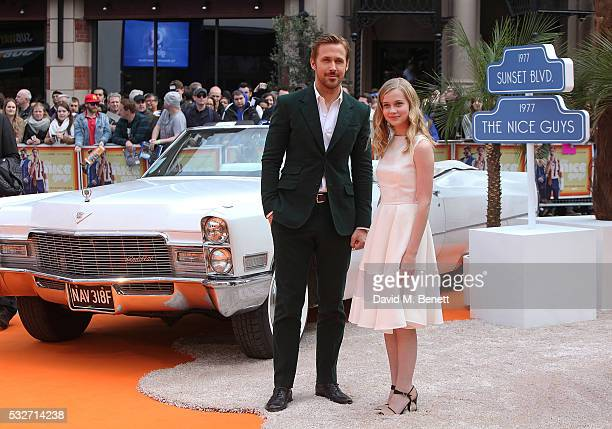 Ryan Gosling and Angourie Rice attend the UK Premiere of 'The Nice Guys' at Odeon Leicester Square on May 19 2016 in London England