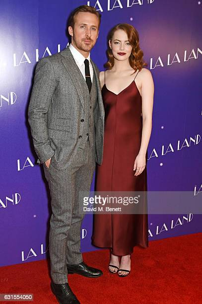 Ryan Gosling and Emma Stone attend the 'La La Land' Gala Screening at The Ham Yard Hotel on January 12 2017 in London England