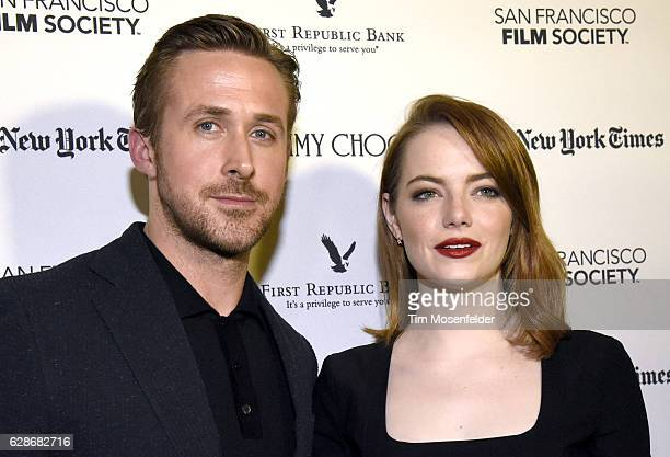 Ryan Gosling and Emma Stone attend the SF Film Society presents SF Honors 'La La Land' at the Castro Theatre on December 8 2016 in San Francisco...