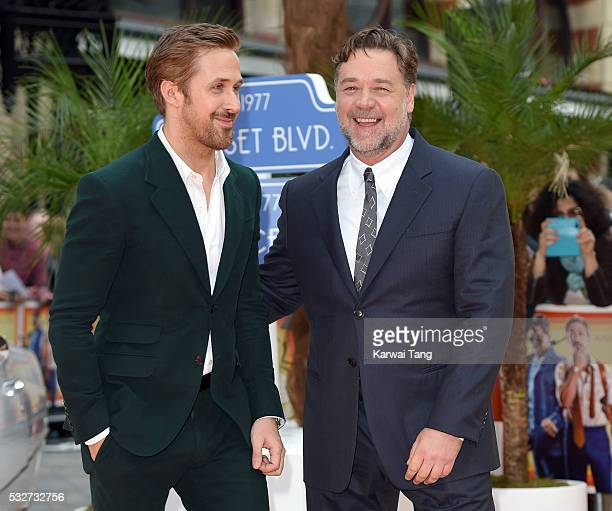 Ryan Gosling and Russell Crowe arrive for the UK Premiere of 'The Nice Guys' at Odeon Leicester Square on May 19 2016 in London England