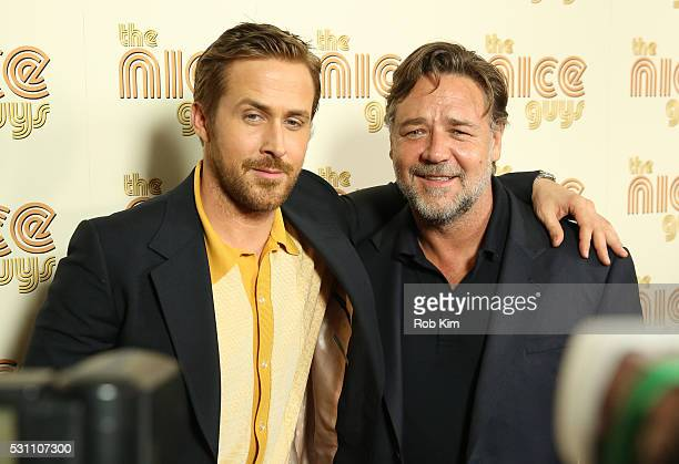 Ryan Gosling and Russell Crowe attend the New York Screening of 'The Nice Guys' at Metrograph on May 12 2016 in New York City