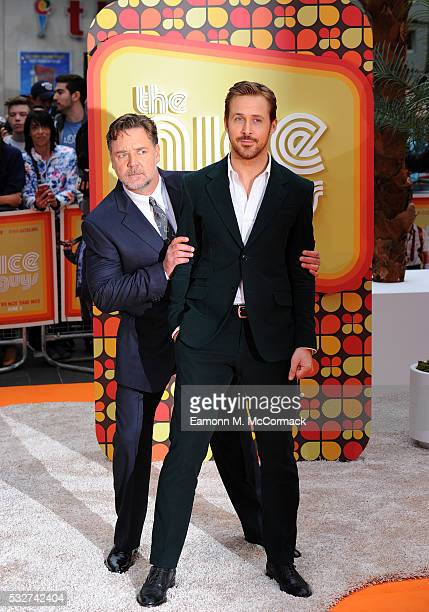 Ryan Gosling and Russell Crowe attend the 'The Nice Guys' UK Premiere at Odeon Leicester Square on May 19 2016 in London England