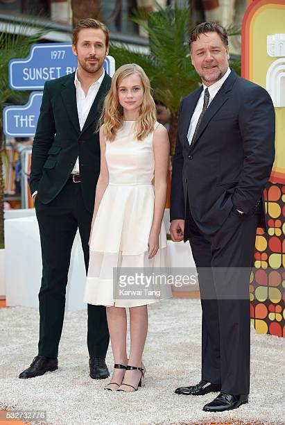 Ryan Gosling Angourie Rice and Russell Crowe arrive for the UK Premiere of 'The Nice Guys' at Odeon Leicester Square on May 19 2016 in London England