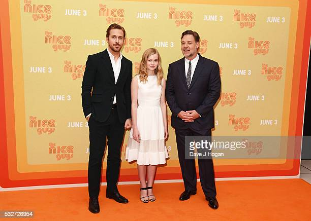 Ryan Gosling Angourie Rice and Russell Crowe attend the 'The Nice Guys' UK Premiere at Odeon Leicester Square on May 19 2016 in London England