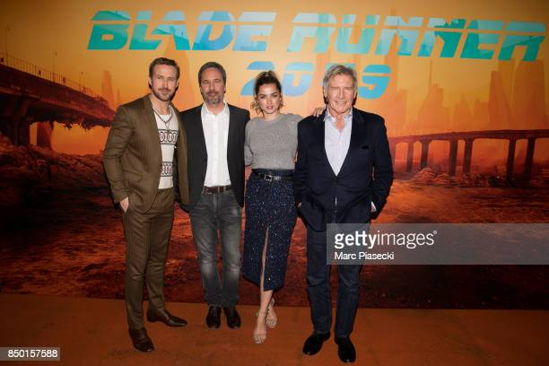 Ryan Gosling Denis Villeneuve Ana de Armas and Harrison Ford attend the 'Blade Runner 2049' photocall at Hotel Le Bristol on September 20 2017 in...