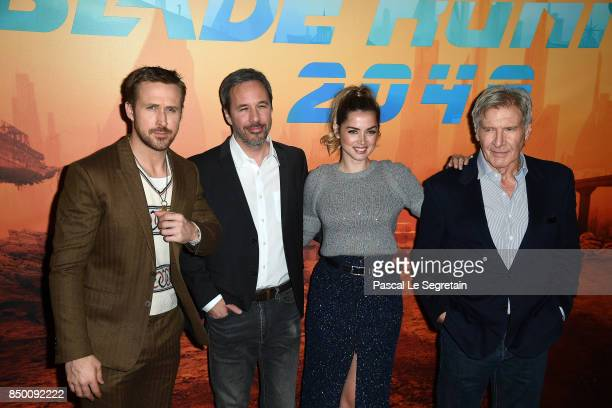 Ryan Gosling Devis Villeneuve Ana De Armas and Harrison Ford attend the 'Blade runner 2049' photocall at Hotel Le Bristol on September 20 2017 in...