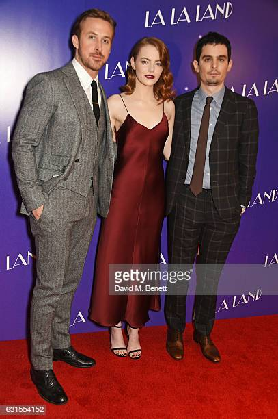 Ryan Gosling Emma Stone and director Damien Chazelle attend the 'La La Land' Gala Screening at The Ham Yard Hotel on January 12 2017 in London England