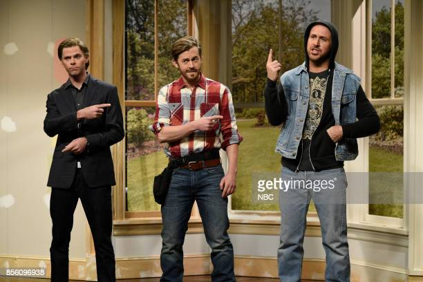 LIVE 'Ryan Gosling' Episode 1726 Pictured Mikey Day as Pete Alex Moffat as Zeke and Ryan Gosling as Tristan during 'The Fliplets' in studio 8H on...