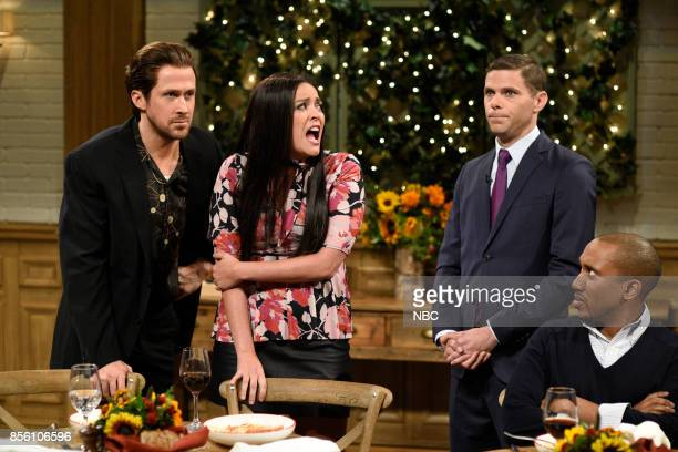 LIVE 'Ryan Gosling' Episode 1726 Pictured Ryan Gosling Cecily Strong Mikey Day Chris Redd during 'Italian Restaurant' in studio 8H on September 30...