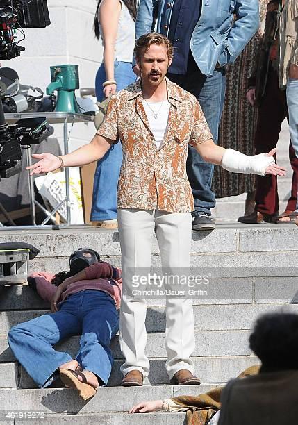 Ryan Gosling is seen filming 'The Nice Guys' on January 21 2015 in Los Angeles California
