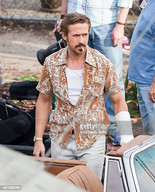 Ryan Gosling is seen on the set of 'The Nice Guys' on January 22 2015 in Los Angeles California