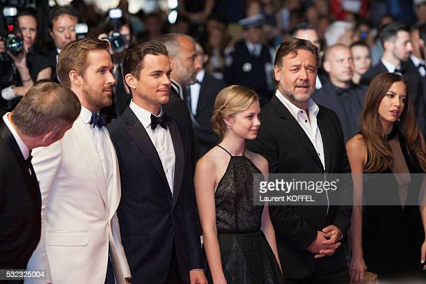 Ryan Gosling Matt Bomer Angourie Rice and Russell Crowe attend 'The Nice Guys' premiere during the 69th annual Cannes Film Festival at the Palais des...