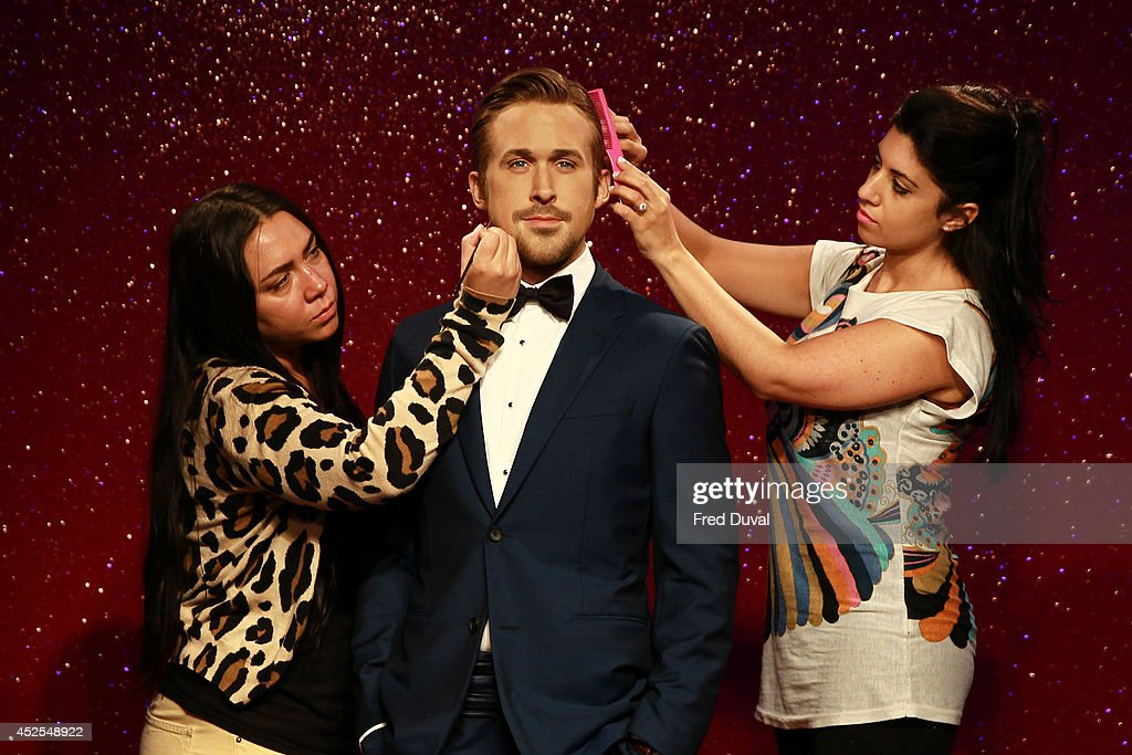 Ryan Gosling wax likeness has a hair and make-up touch up as Madame Tussauds unveil their new Ryan Gosling wax figure at Madame Tussauds on July 23, 2014 in London, England.