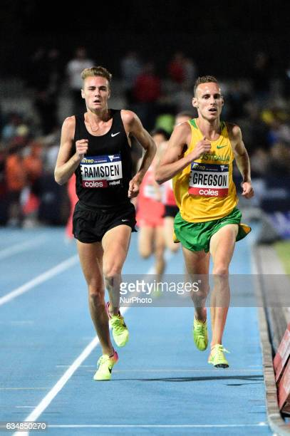 Ryan Gregson of Australia alongside Matthew Ramsden of the Bolt All Stars during the Men's 1 mile elimination race at Nitro Athletics at Lakeside...
