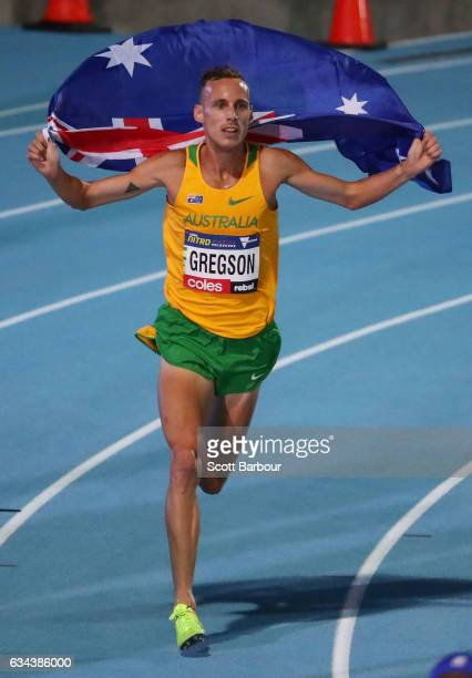 Ryan Gregson of Australia celebrates after winning the Men 1 Mile Run Elimination during the 2017 Nitro Athletics Series at Lakeside Stadium on...