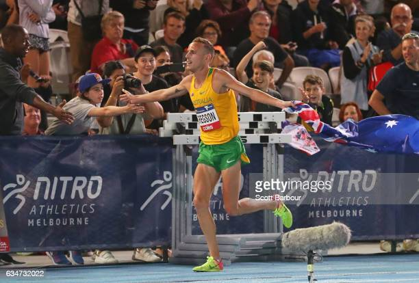 Ryan Gregson of Australia celebrates after winning the Men 1 Mile Run Elimination during the Melbourne Nitro Athletics Series at Lakeside Stadium on...