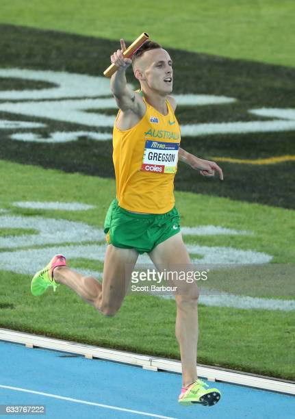 Ryan Gregson of Australia celebrates as he crosses the finish line to win the Mixed Distance Medley during Nitro Athletics at Lakeside Stadium on...