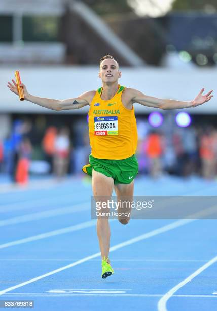 Ryan Gregson of Australia celebrates winning the Mixed Medley Relay during Nitro Athletics at Lakeside Stadium on February 4 2017 in Melbourne...