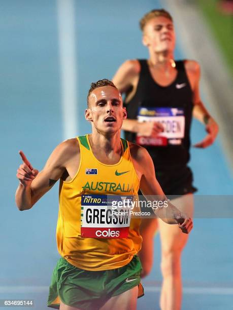 Ryan Gregson of Australia competes in men 1 mile elimination during the Melbourne Nitro Athletics Series at Lakeside Stadium on February 11 2017 in...