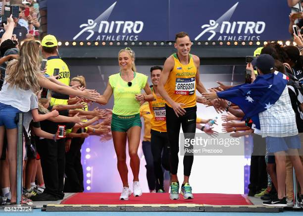 Ryan Gregson of Australia leads his team out during the 2017 Nitro Athletics Series at Lakeside Stadium on February 9 2017 in Melbourne Australia