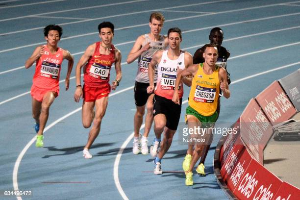 Ryan Gregson of Australia leads Richard Wier of Englandin the Mile Elimination Race at Nitro Athletics at Lakeside Stadium on February 9 2017 in...