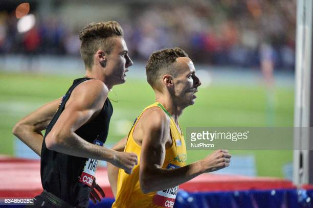 Ryan Gregson of Australia Matthew Ramsden of the Bolt All Starts during the Men's 1 mile elimination race at Nitro Athletics at Lakeside Stadium on...