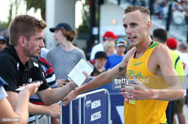 Ryan Gregson of Australia speaks to the media following his Mixed Distance Medley during Nitro Athletics at Lakeside Stadium on February 4 2017 in...