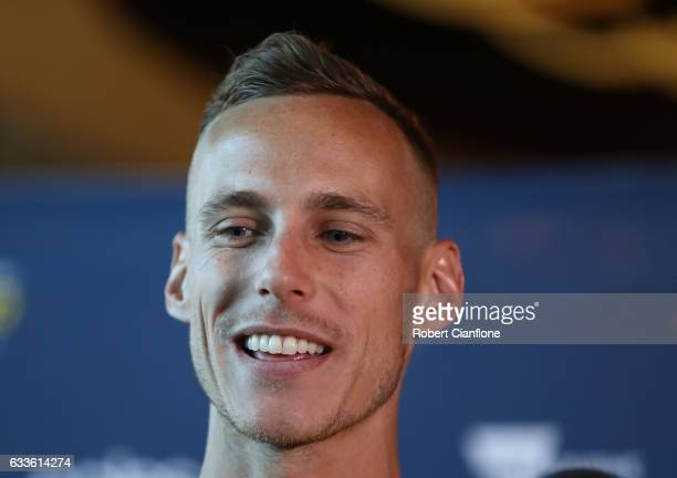 Ryan Gregson of Team Australia speak to the media during a media opportunity for the Nitro Athletics series at Crown Palladium on February 3 2017 in...