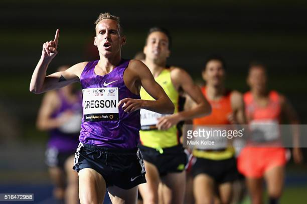 Ryan Gregson of the Victorian Institute of Sport celebrates as he crosses the line to win the men's 1500 metre open race during the 2016 Sydney Track...