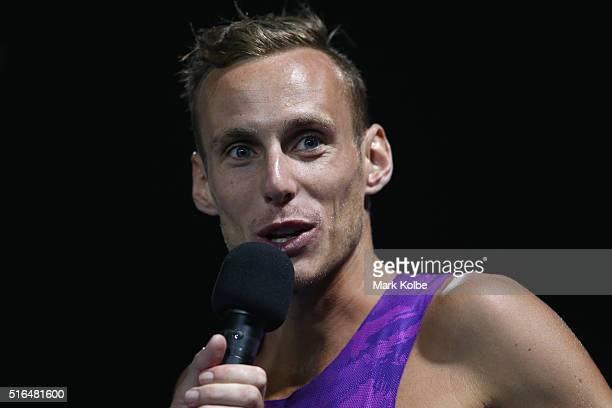 Ryan Gregson of the Victorian Institute of Sport is interviewed after winning the men's 1500 metre open race during the 2016 Sydney Track Classic at...