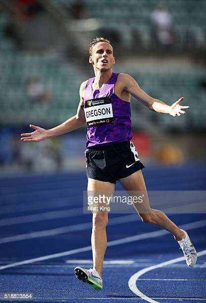 Ryan Gregson of Victoria celebrates winning the Men's 1500m final during the Australian Athletics Championships at Sydney Olympic Park on April 3...