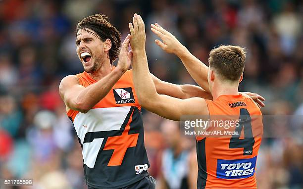 Ryan Griffen of the Giants celebrates a goal during the round four AFL match between the Greater Western Sydney Giants and the Port Adelaide Power at...